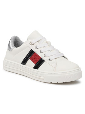 TOMMY HILFIGER TOMMY HILFIGER Sneakersy Low Cut Lace-Up Sneaker T3A4-31023-0813 M Bílá