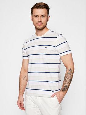 Lee Lee T-Shirt Stripe L60XLAQA Beżowy Regular Fit