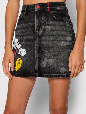 Desigual Desigual Džínová sukně DISNEY Mickey 21WWFD13 Černá Slim Fit
