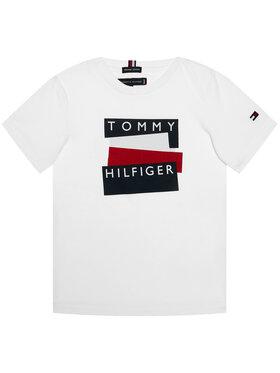 TOMMY HILFIGER TOMMY HILFIGER Marškinėliai Sticker Tee S/S KB0KB05849 M Balta Regular Fit