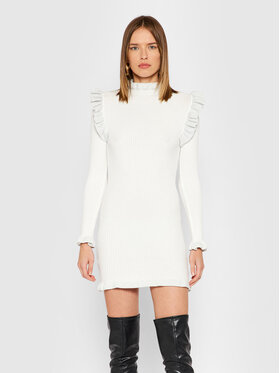 Rinascimento Rinascimento Плетена рокля CFM0010441003 Бял Slim Fit