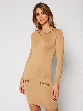 Elisabetta Franchi Elisabetta Franchi Džemper haljina AM-60S-07E2-V349 Smeđa Slim Fit