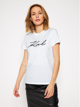 KARL LAGERFELD KARL LAGERFELD T-Shirt Logo Rhinestone 206W1707 Biały Regular Fit