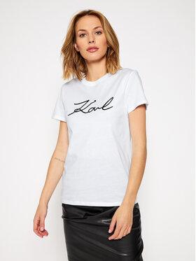 KARL LAGERFELD KARL LAGERFELD T-Shirt Logo Rhinestone 206W1707 Weiß Regular Fit