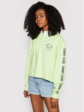 Tommy Jeans Tommy Jeans Polo Tjw Bxy Crop Tape Rugby DW0DW10121 Vert Regular Fit