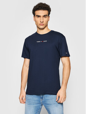 Tommy Jeans Tommy Jeans Тишърт Small Text DM0DM09701 Тъмносин Regular Fit