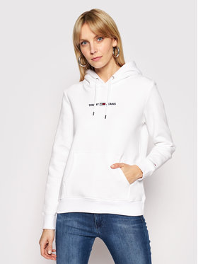 Tommy Jeans Tommy Jeans Džemperis Linear Logo DW0DW10132 Balta Regular Fit