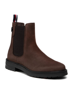 Tommy Hilfiger Tommy Hilfiger Členková obuv s elastickým prvkom Th Stud Flat Boot FW0FW06027 Hnedá