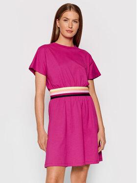 KARL LAGERFELD KARL LAGERFELD Kleid für den Alltag Logo Tape 215W1352 Rosa Regular Fit