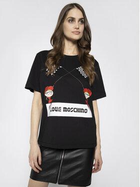 LOVE MOSCHINO LOVE MOSCHINO Marškinėliai W4F8732M 3876 Juoda Regular Fit
