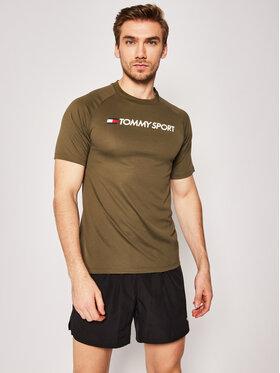 Tommy Sport Tommy Sport T-shirt Trainning Mesh Logo S20S200357 Vert Regular Fit