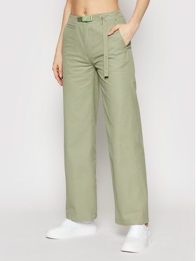 Converse Converse Hlače Wide Leg Woven 10020315-A05 Zelena Relaxed Fit