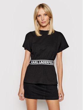 KARL LAGERFELD KARL LAGERFELD T-shirt Loga Tape Top 211W1705 Crna Regular Fit