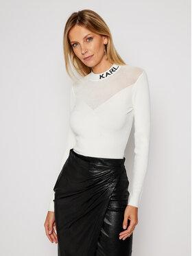 KARL LAGERFELD KARL LAGERFELD Sweter Pointelle Logo 206W2000 Biały Slim Fit
