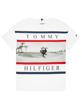 Tommy Hilfiger Tommy Hilfiger T-Shirt Photo Print KB0KB06528 M Biały Regular Fit