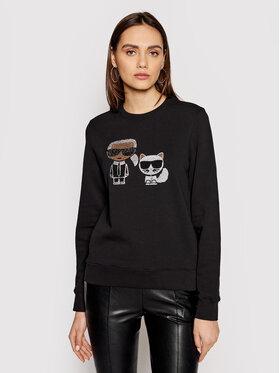 KARL LAGERFELD KARL LAGERFELD Sweatshirt Ikonik Rhinestones 210W1824 Noir Regular Fit