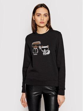 KARL LAGERFELD KARL LAGERFELD Sweatshirt Ikonik Rhinestones 210W1824 Schwarz Regular Fit