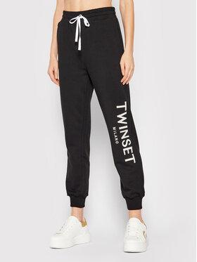TWINSET TWINSET Teplákové kalhoty 212TP2572 Černá Relaxed Fit