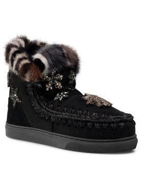 Mou Mou Buty Eskimo Sneaker Star Patch&Mink FW111006A Czarny