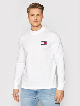 Tommy Jeans Tommy Jeans Majica dugih rukava Tjm Badge Mock Neck DM0DM10281 Bijela Regular Fit