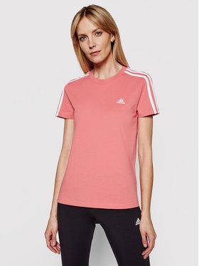 adidas adidas T-shirt Loungewear Essentials 3-Stripes GL0787 Rose Slim Fit