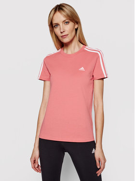 adidas adidas Тишърт Loungewear Essentials 3-Stripes GL0787 Розов Slim Fit