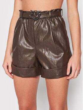 Pinko Pinko Shorts aus Kunstleder Licabetto 1G16FL Y6W7 Braun Regular Fit