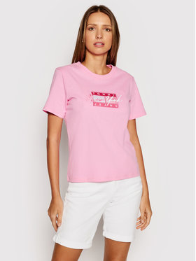 Tommy Jeans Tommy Jeans T-shirt Embroidered Flag DW0DW09813 Rose Regular Fit