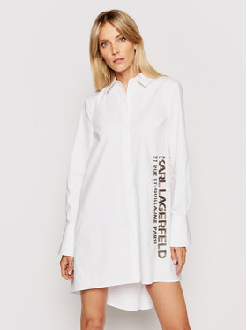 KARL LAGERFELD KARL LAGERFELD Marškiniai Embellished Poplin 211W1602 Balta Regular Fit