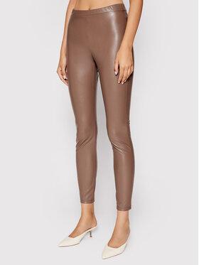 Weekend Max Mara Weekend Max Mara Spodnie z imitacji skóry Ranghi 37860616 Brązowy Slim Fit