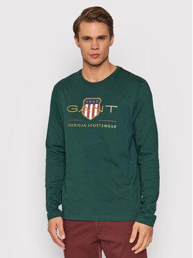 Gant Gant Longsleeve Archive Shield 2004028 Zielony Regular Fit