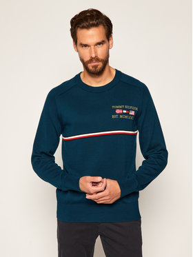 TOMMY HILFIGER TOMMY HILFIGER Pullover Global Stripe Flags MW0MW12275 Dunkelblau Relaxed Fit