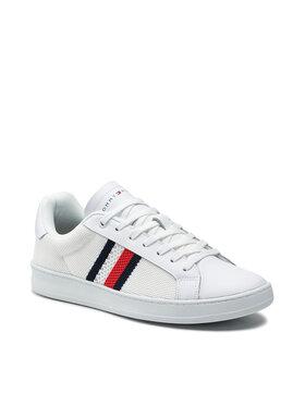 Tommy Hilfiger Tommy Hilfiger Sneakersy Cupsole Court Stripes Knit Mix FM0FM03606 Biały