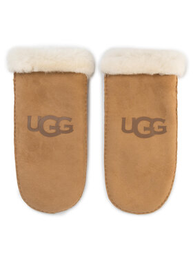 Ugg Ugg Дамски ръкавици W Sheepskin Logo Mitten 18690 Кафяв