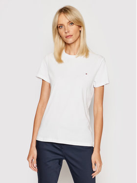 Tommy Hilfiger Tommy Hilfiger T-Shirt WW0WW22043 Biały Regular Fit