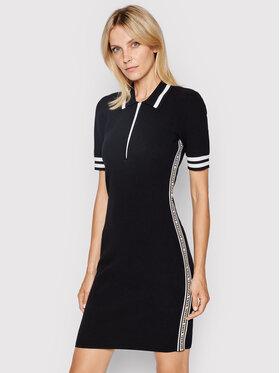 MICHAEL Michael Kors MICHAEL Michael Kors Плетена рокля Logo Half MU1807R1FW Черен Slim Fit
