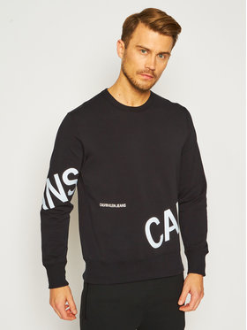 Calvin Klein Jeans Calvin Klein Jeans Суитшърт Strech Logo Crew J30J316522 Черен Regular Fit