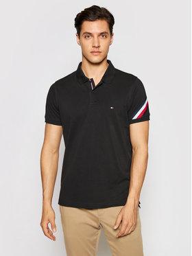 Tommy Hilfiger Tommy Hilfiger Тениска с яка и копчета Gs Sleeve Tape MW0MW17789 Черен Slim Fit