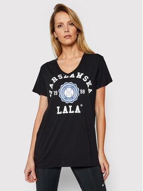 PLNY LALA PLNY LALA T-shirt Warszawska Lala PL-KO-VN-00098 Crna V-Neck Fit