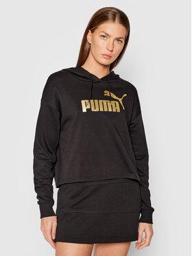 Puma Puma Sweatshirt Essential Cropped Metallic 586892 Schwarz Relaxed Fit