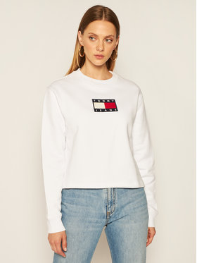 Tommy Jeans Tommy Jeans Суитшърт Flag Crew DW0DW08548 Бял Regular Fit