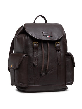 Tommy Hilfiger Tommy Hilfiger Plecak Casual Leather Flap Backpack AM0AM06844 Brązowy