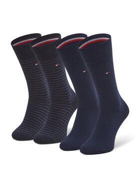Tommy Hilfiger Tommy Hilfiger Súprava 2 párov vysokých pánskych ponožiek 100001496 Tmavomodrá
