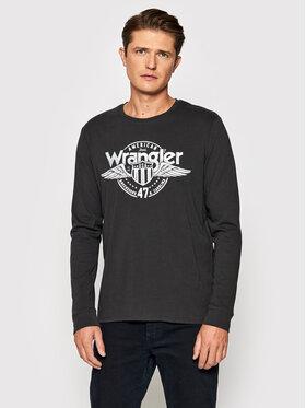 Wrangler Wrangler Longsleeve Ls Americana Tee W7J5D3XV6 Schwarz Regular Fit