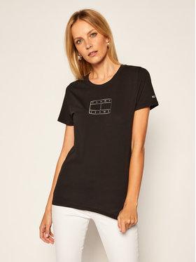 Tommy Jeans Tommy Jeans T-Shirt Outline Flag Tee DW0DW08936 Černá Regular Fit