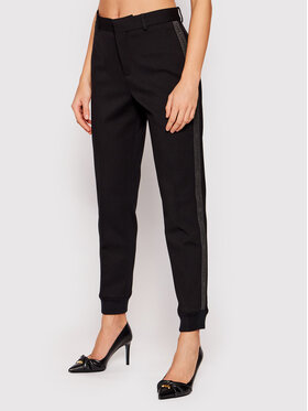 KARL LAGERFELD KARL LAGERFELD Pantaloni din material Punto 211W1020 Negru Regular Fit