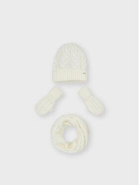 Mayoral Mayoral Zestaw czapka, szalik i rękawiczki 10156 Biały