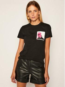 KARL LAGERFELD KARL LAGERFELD Marškinėliai Legend Double Print Tee 205W1716 Juoda Regular Fit