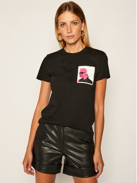 KARL LAGERFELD KARL LAGERFELD Тишърт Legend Double Print Tee 205W1716 Черен Regular Fit