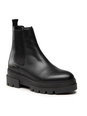Tommy Hilfiger Tommy Hilfiger Členková obuv s elastickým prvkom Monochromatic Chelsea Boot FW0FW05950 Čierna